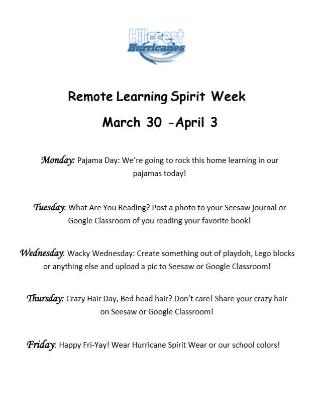 Remote Learning Spirit Week